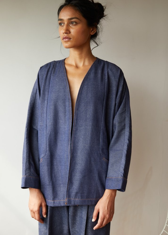 Recycled Denim open jacket - Ethical made fashion - onlyethikal