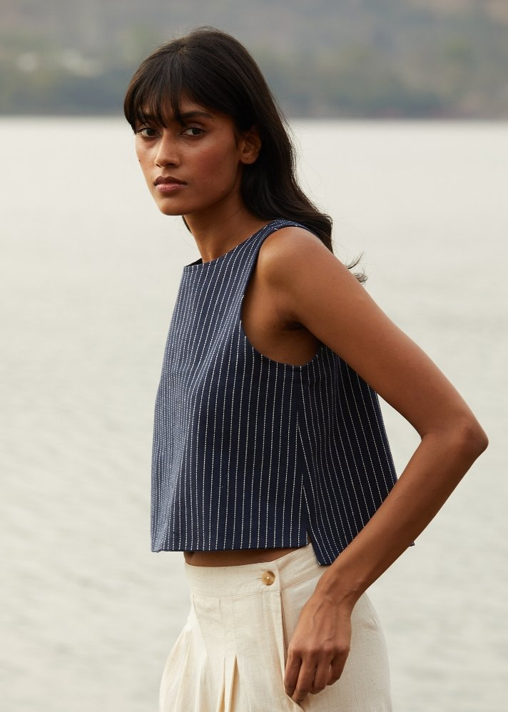 Recycled denim reversible top - Ethical made fashion - onlyethikal