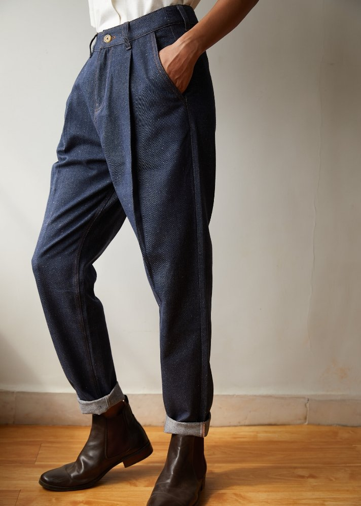 Recycled Denim tapered pants - Ethical made fashion - onlyethikal