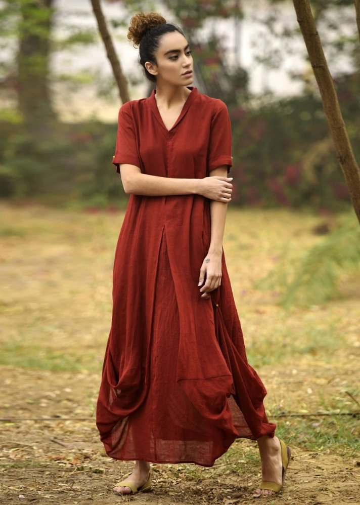 Red cowl and drape dress - Ethical made fashion - onlyethikal