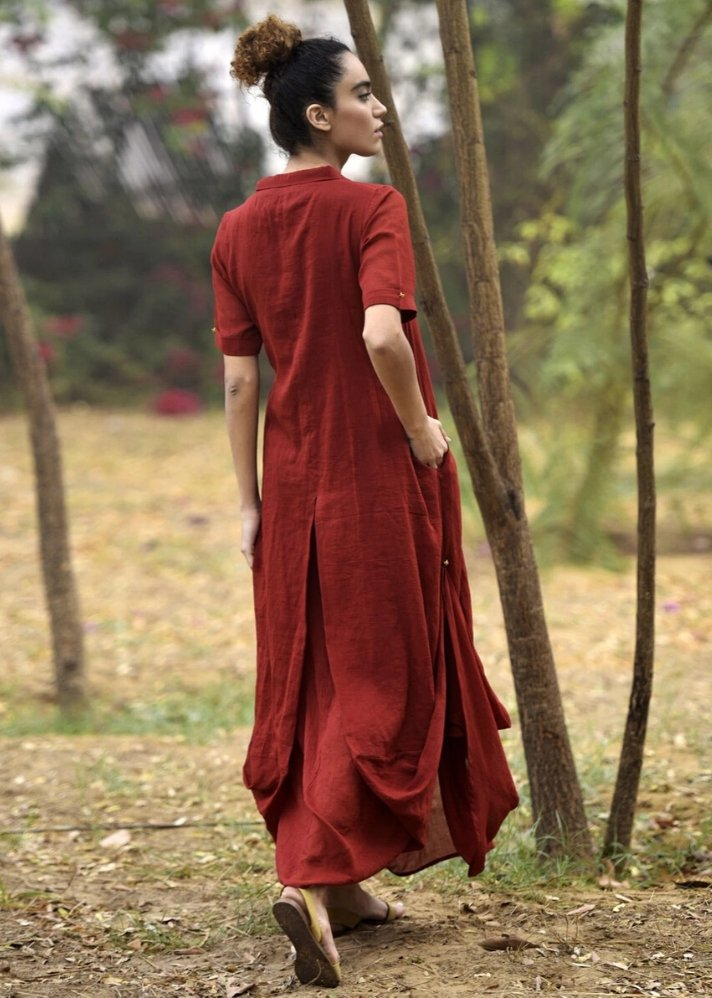 Red cowl and drape dress - onlyethikal