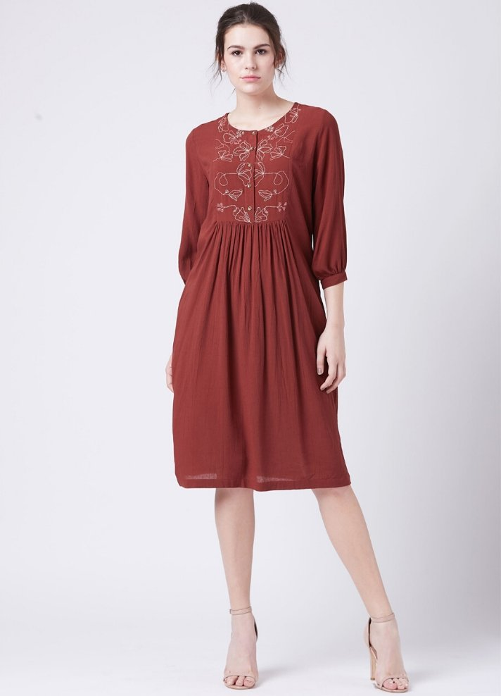 Red embroidered dress - Ethical made fashion - onlyethikal