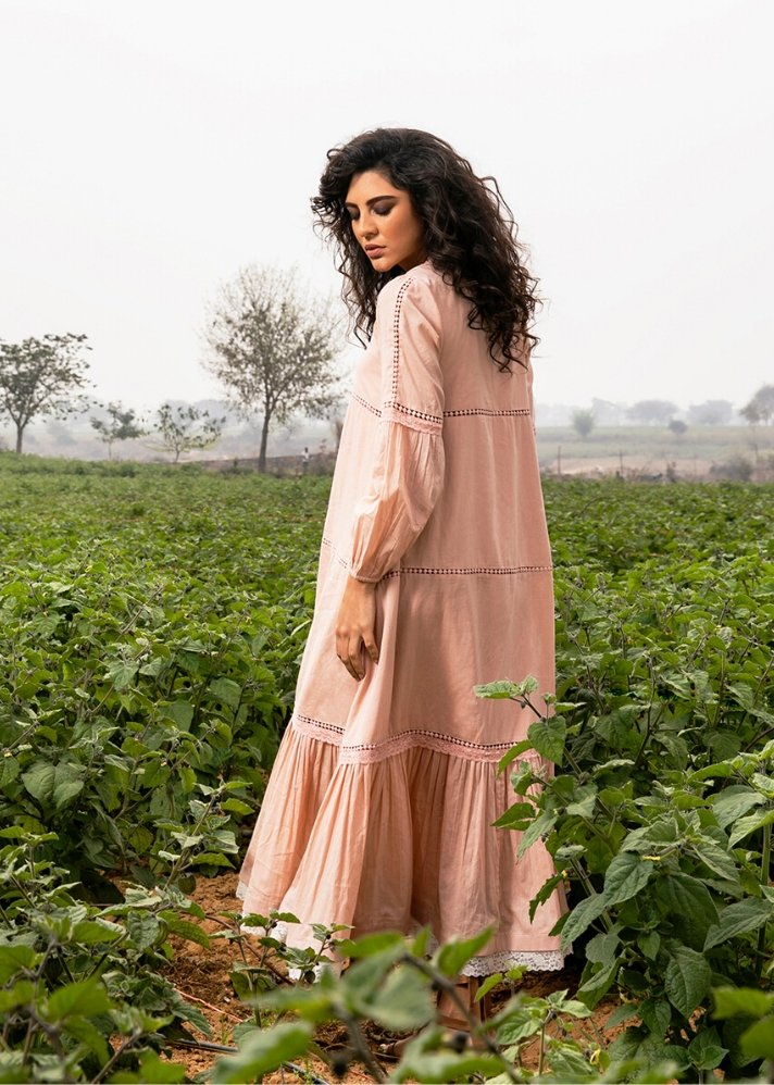 Rose Mulmul maxi dress - Ethical made fashion - onlyethikal