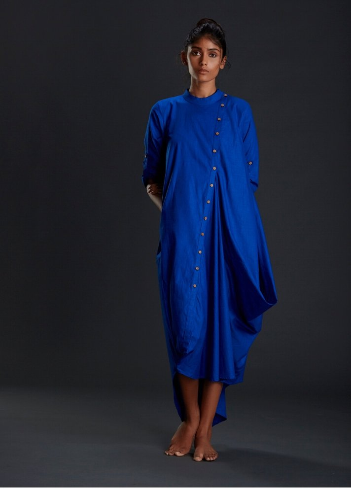 Royal Blue Buttoned Asymmetrical dress - Ethical made fashion - onlyethikal