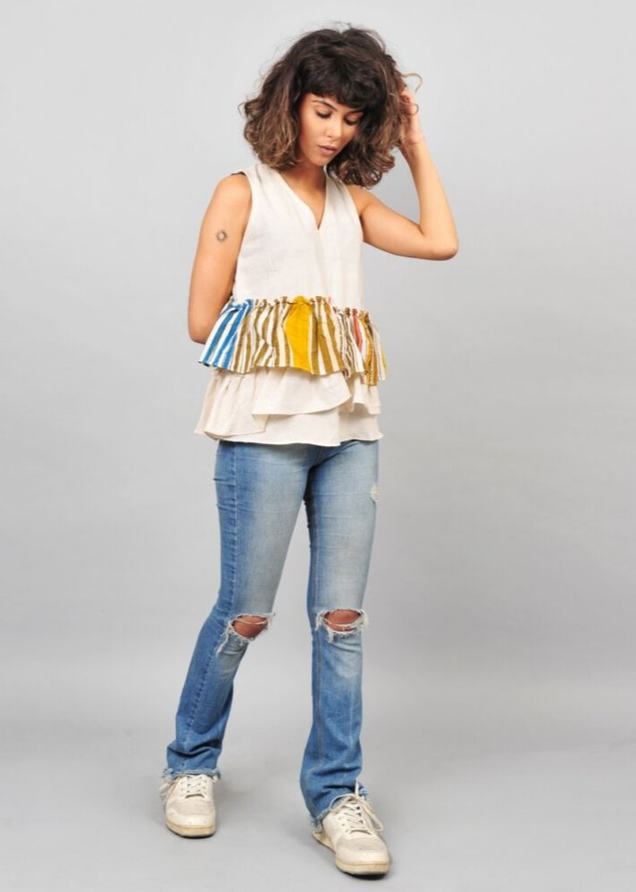 Ruffle sleeves top - Ethical made fashion - onlyethikal
