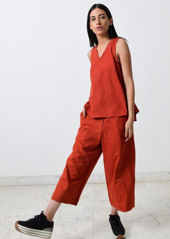 Ready to ship! Rust khadi Co-ord set - Ethical made fashion - onlyethikal
