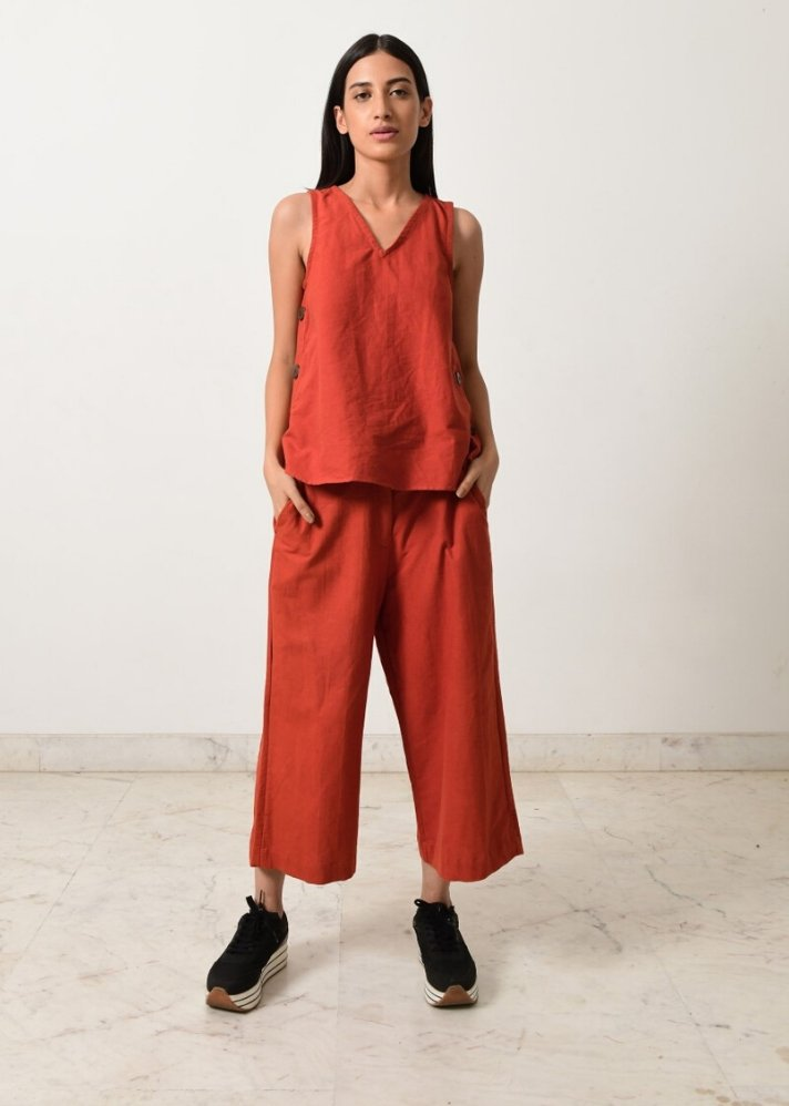 Rust khadi Co-ord set - Ethical made fashion - onlyethikal