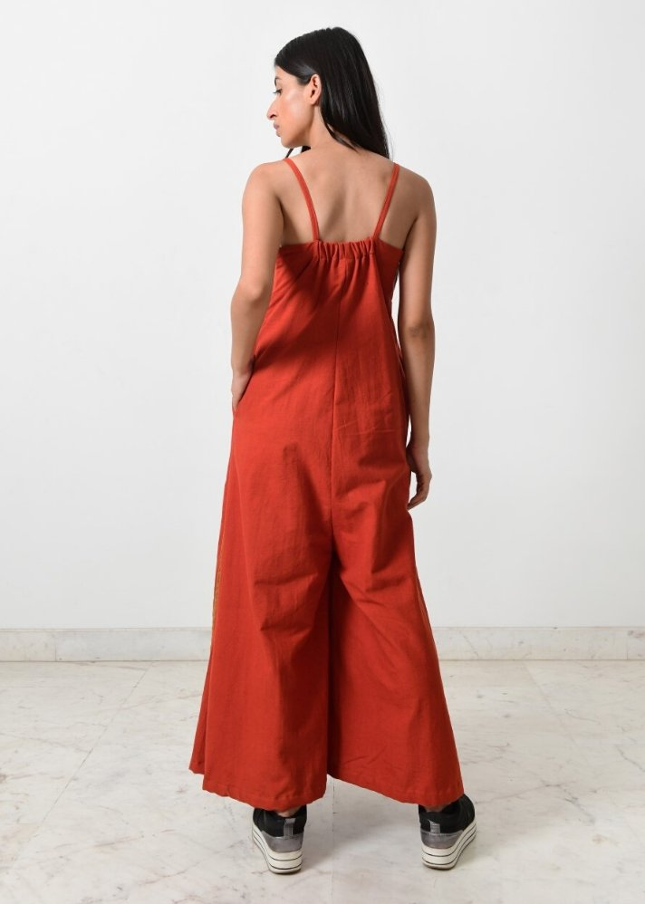 Rust strappy jumpsuit - Ethical made fashion - onlyethikal