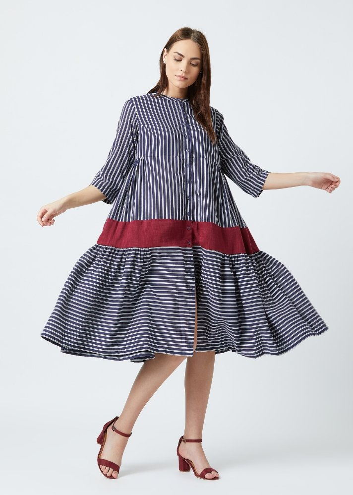 Ready to ship! Seville blue stripe dress - Ethical made fashion - onlyethikal