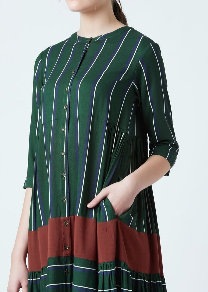 Seville green stripe dress - Ethical made fashion - onlyethikal