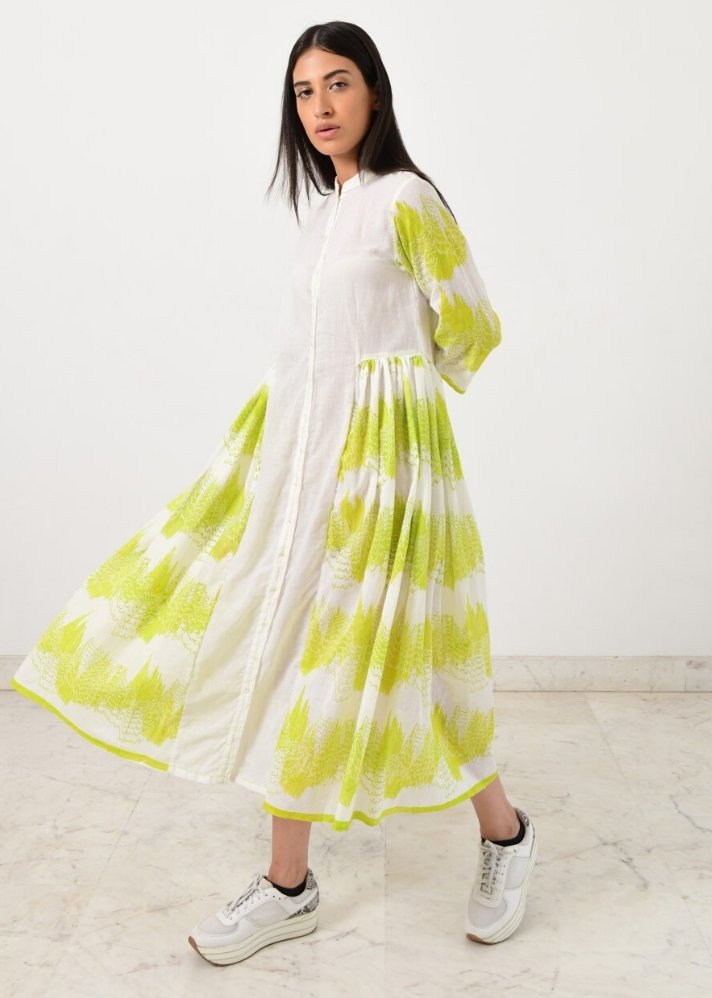 Side pleated geo dress - Ethical made fashion - onlyethikal