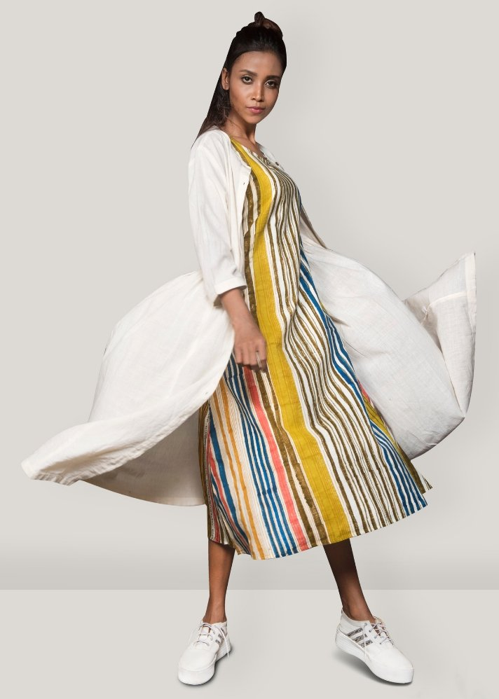 Stripe dress with overlay - onlyethikal