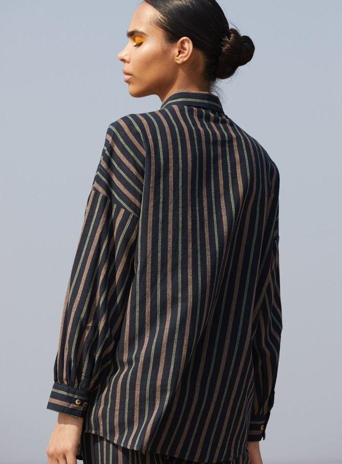 Striped Cotton Shirt - Ethical made fashion - onlyethikal