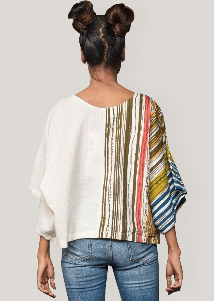 Striped half printed top - Ethical made fashion - onlyethikal