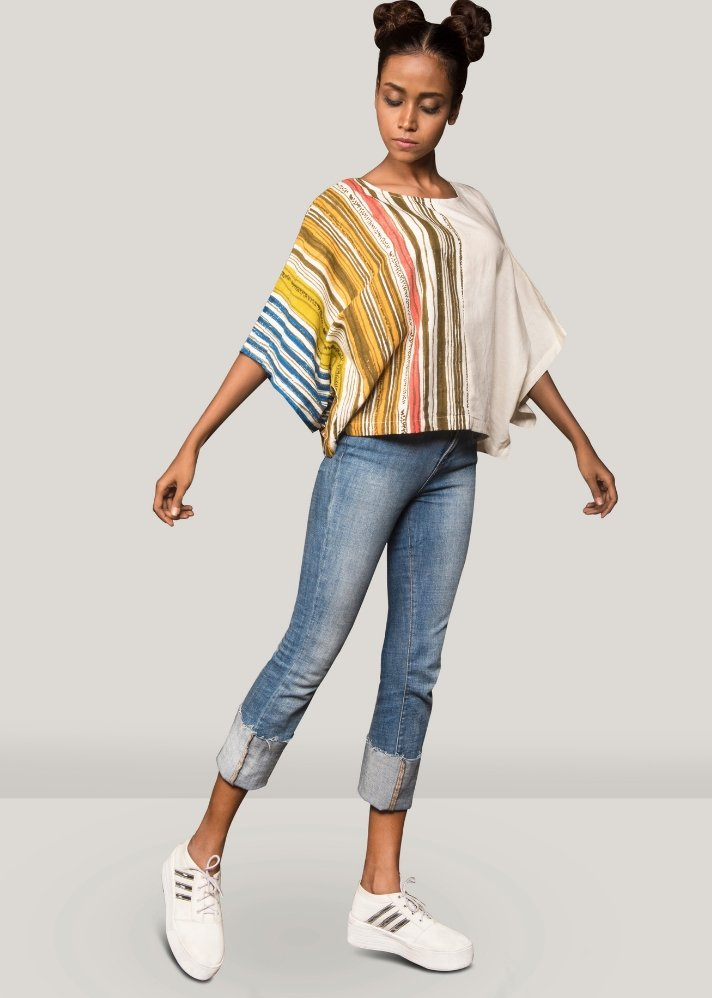 Striped half printed top - onlyethikal