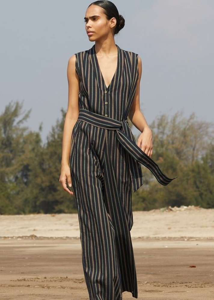 Striped Khadi Jumpsuit - Ethical made fashion - onlyethikal