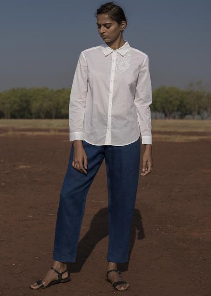 White Embroidered Shirt - Ethical made fashion - onlyethikal