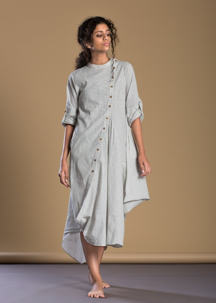 White Pinstripe Buttoned Asymmetrical dress - Ethical made fashion - onlyethikal