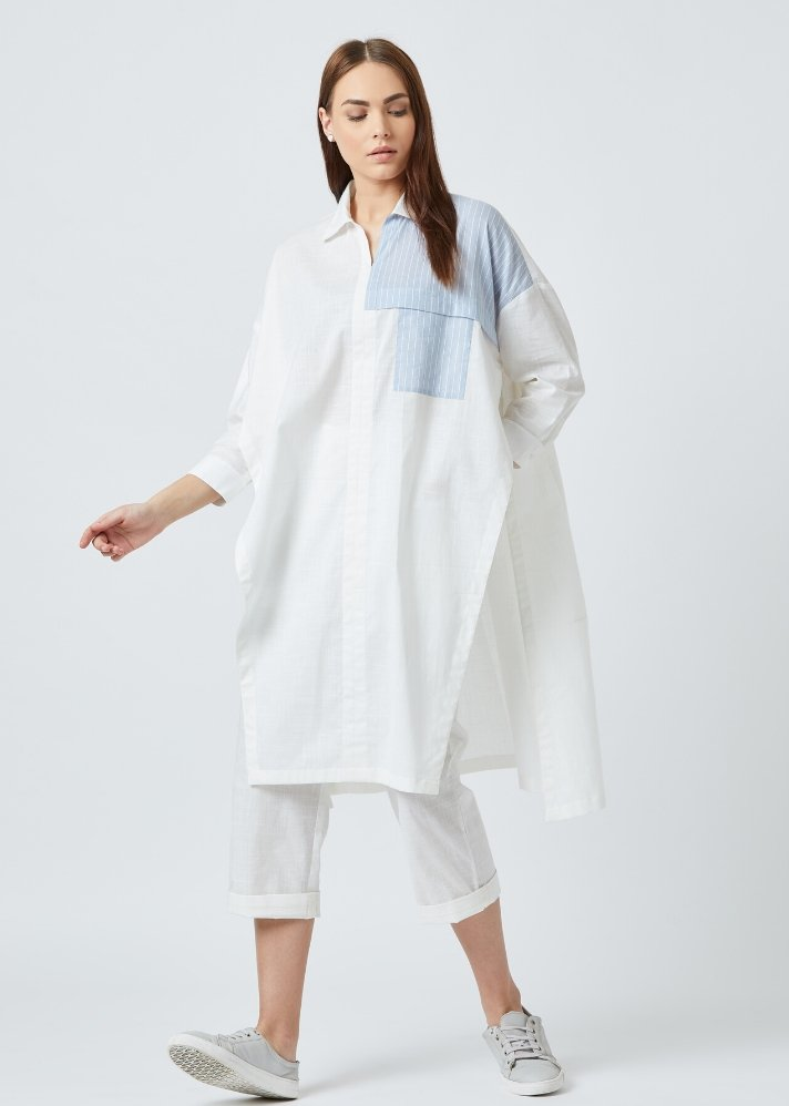 Ready to ship! White tunic and pants set - Ethical made fashion - onlyethikal