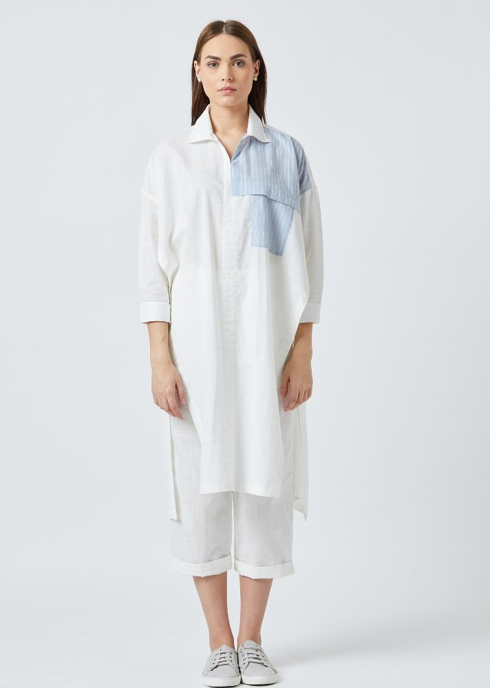 White tunic and pants set - Ethical made fashion - onlyethikal