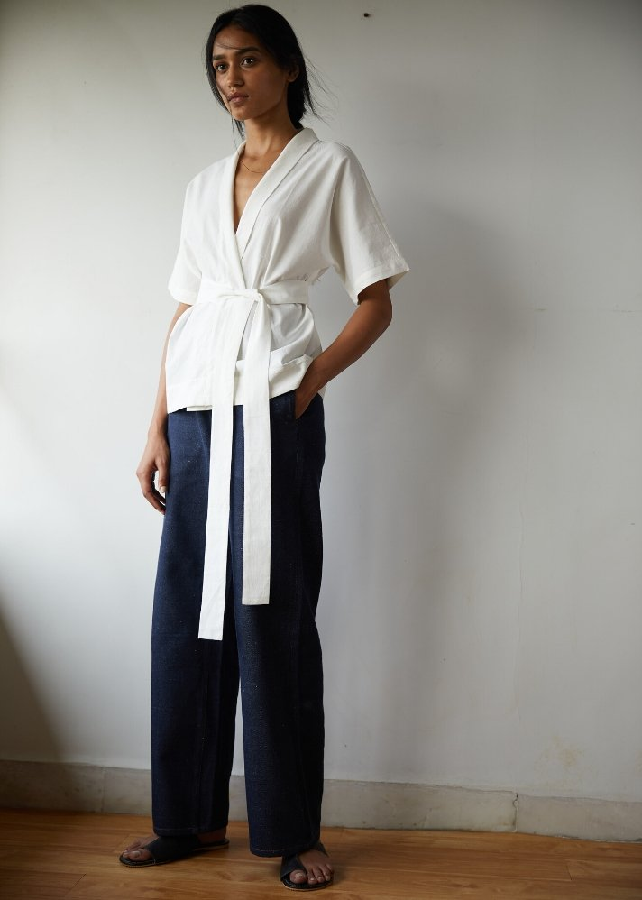 Wrap top in Khadi - Ethical made fashion - onlyethikal