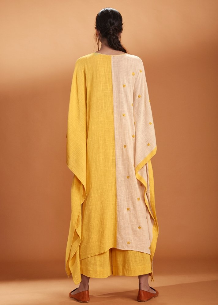 Yellow and Ivory Kaftan set - Ethical made fashion - onlyethikal