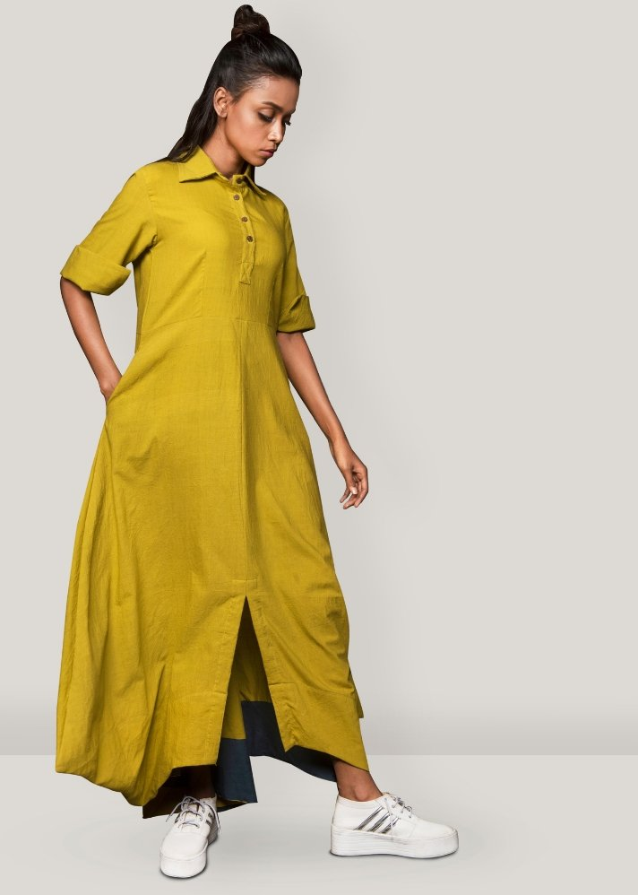 Yellow collar cowl dress - Ethical made fashion - onlyethikal