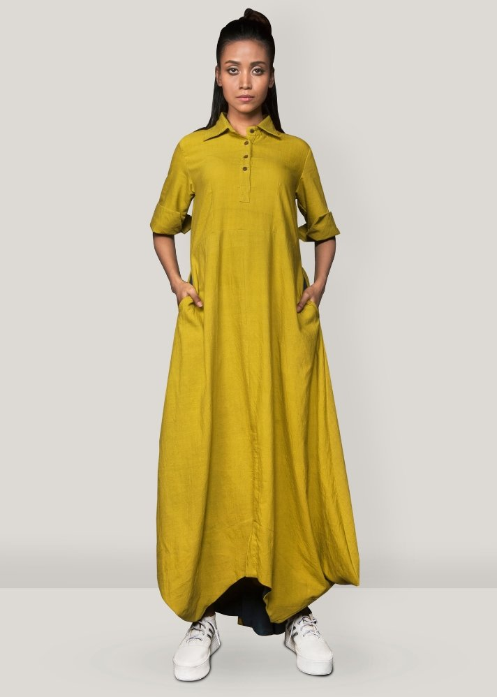 Ready to ship! Yellow collar cowl dress - Ethical made fashion - onlyethikal