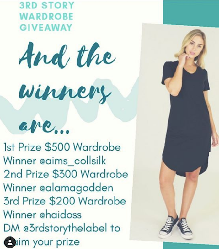 3rd Story Wardrobe Giveaway Winners Announced