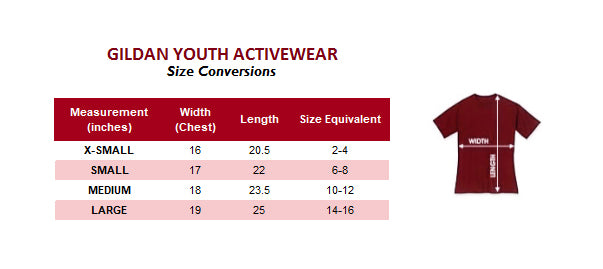 Harvard youth arc t shirt hahvahd tour shop for Gildan brand t shirt size chart