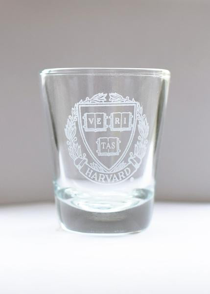 Harvard Etched Crest Shot Glass