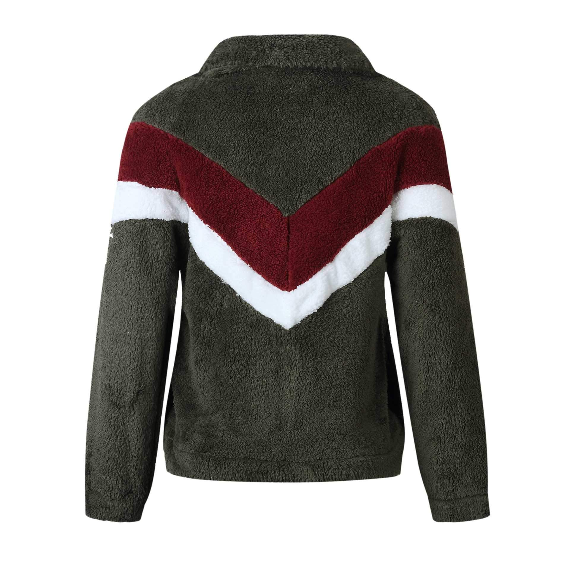 Cozy Colorblock Chevron Half Zip Sherpa Pullover Faux Fur Sweatshirt Jacket