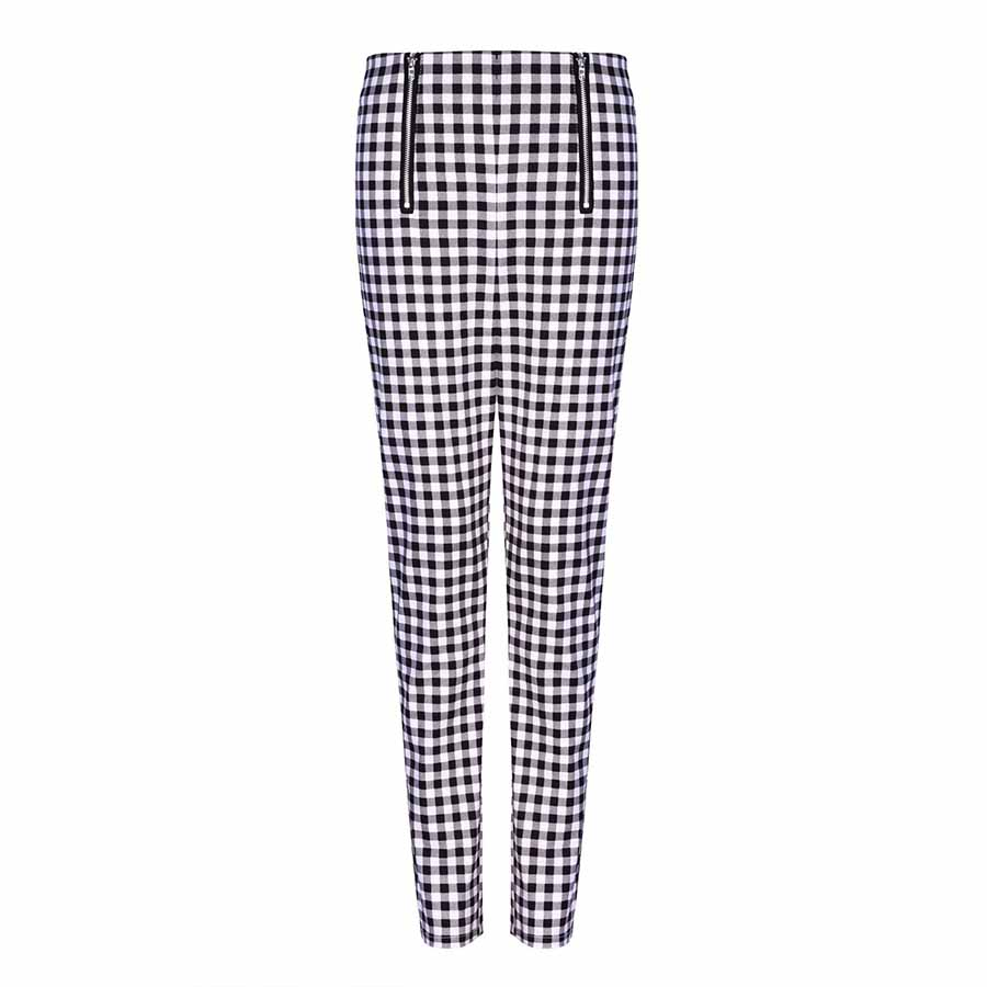 Tummy Slim Fit Checked Trousers Stretchy Skinny Pants