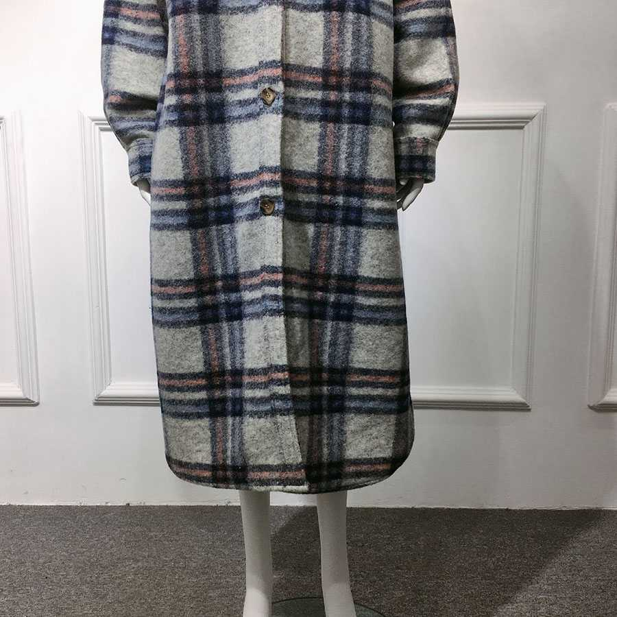 Full Length Checkered Long Cashmere Overcoat Blend Wool Pea Coat