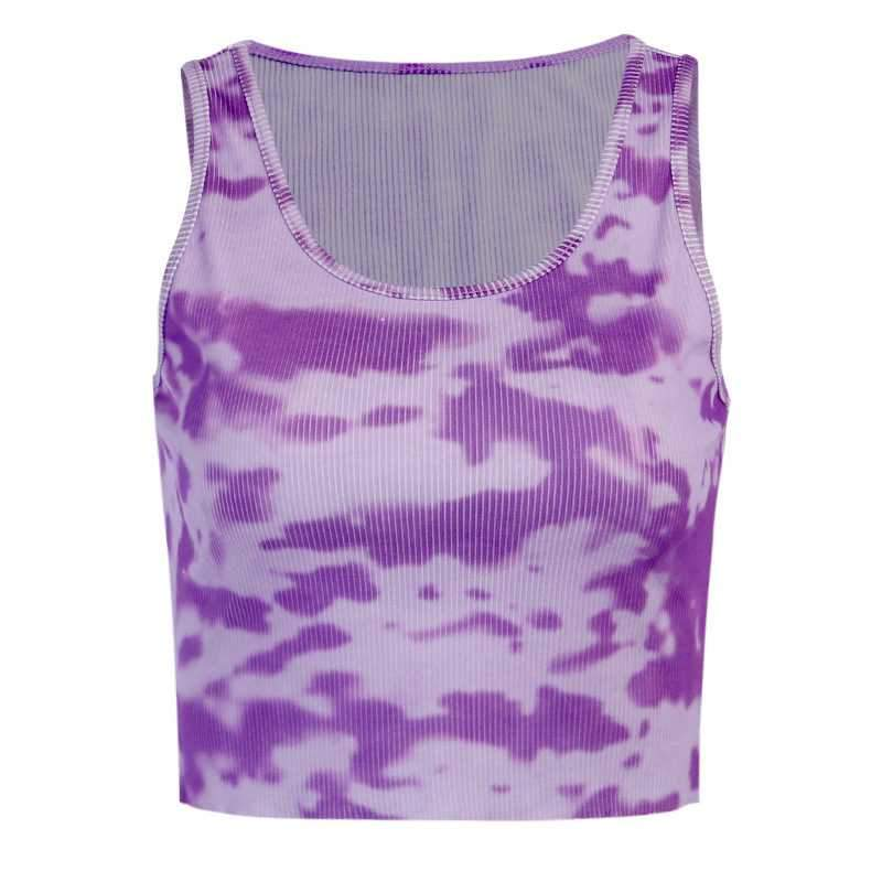 Popular Ribbed U Neck Bleach Tie Dye Cropped Tank Tops Sleeveless