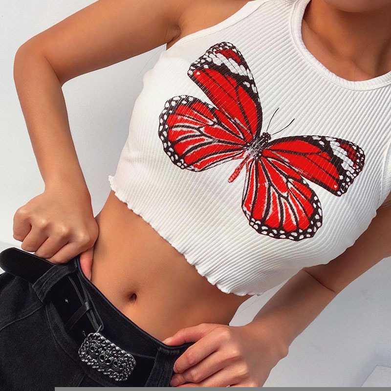 Butterfly Embroidered Ribbed Cotton Workout Tank Crop Top