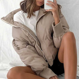 High Collar Oversized Puffy Puffer Bomber Jacket Padded