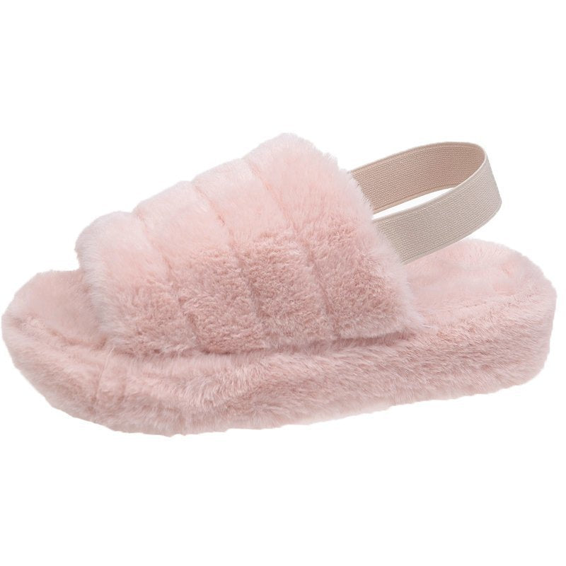Tie Dye Fluffy Slide Fuzzy Slippers Winter Furry Sandals