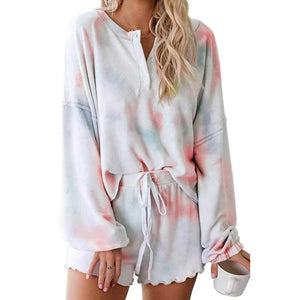 Aesthetic Bleach Tie Dye Knit Pullover Sweater And Scalloped Ruffle Knit Shorts Sets