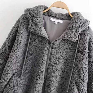 Bomber Fuzzy Warm Winter Jackets Hooded Teddy Coats