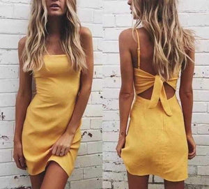 Solid Color Back Tie Midi Dress Casual