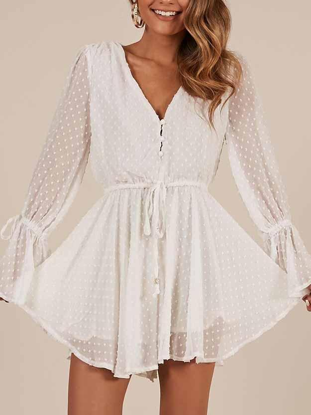 3d Embroidery Chiffon Short Jumpsuit Long Sleeve Romper Dress