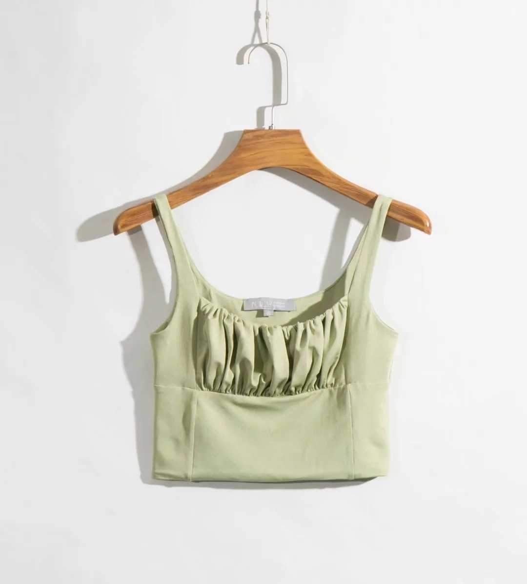 Pretty ruched Tank Top Women's Sleeveless Scrunch Shirt