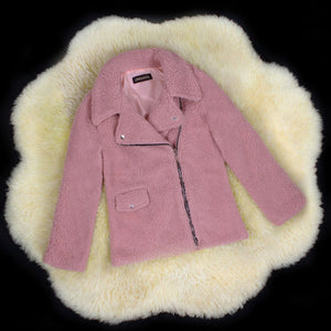 Motocycle Style Sherpa FleeceZip Up Faux Fur Jacket