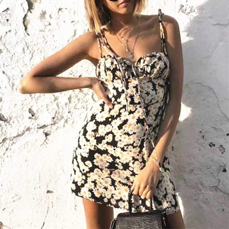 Tie Shoulder Daisy Flower Prints Front Ties High Waisted Bustier Mini Dress