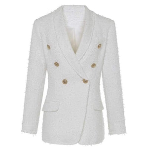 Wool Blended Classy Double Breast Tweed Short Blazer Jacket