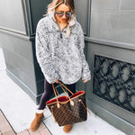 Faux Fur Shearling Sherpa Fleece Pullover Sweatshirt
