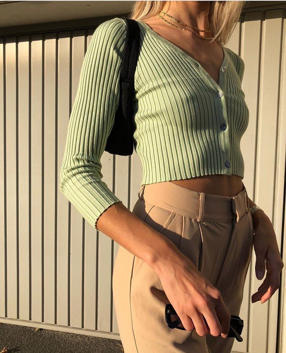 Long Sleeve Button Down Crop Top Knit Shirt For 90s
