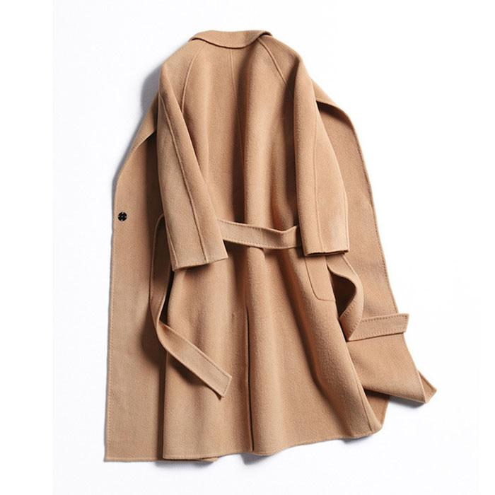 Free Shipping Camel Cashmere Wool Trench Overcoat Womens