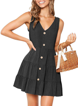 Cute Ruched V Neck Button Down Flowy A Line Sundress